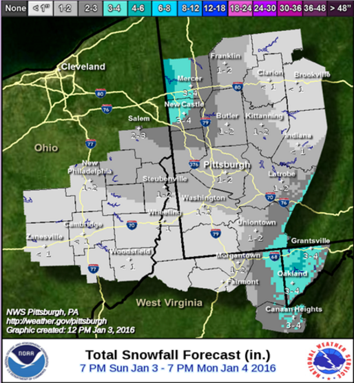 "NWS: Rather surprisingly, the Pittsburgh office of the National Weather Service is calling for greater than 1"" of accumulation across the board. Their map follows the same sandwich shape as the others, but they count on a heavier pocket of 1-2"" impacting Allegheny county. There are also higher 3-4"" and 4+"" areas much farther south than on other maps."