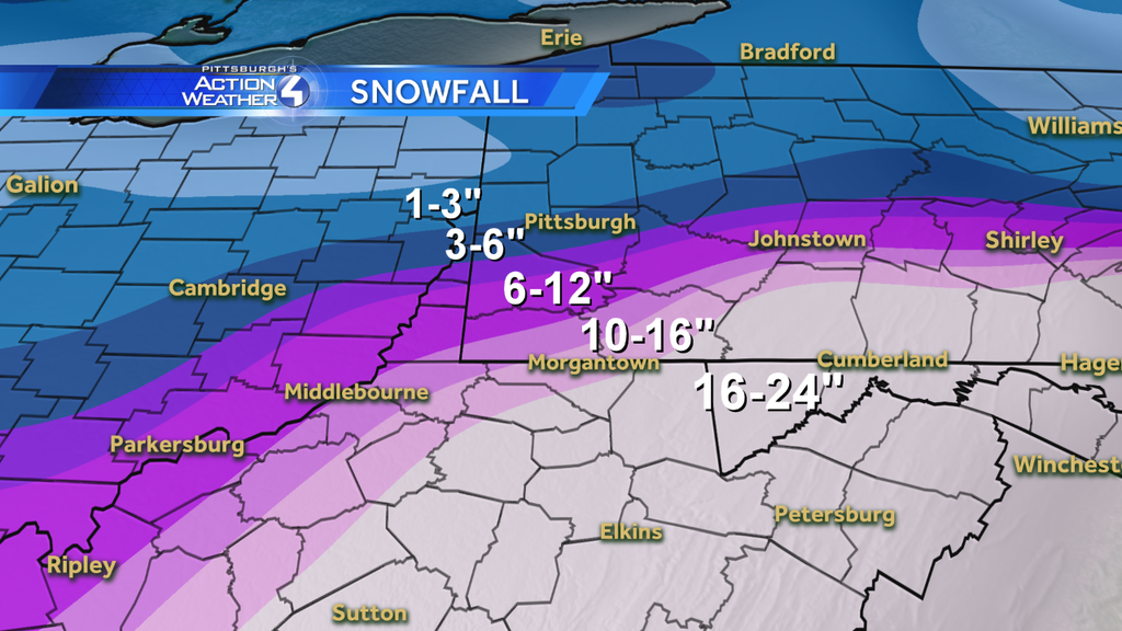 Forecast Maps for Jan  22-23 Snowfall – Pittsburgh Snow Day