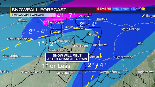 "WPXI nailed areas from Pittsburgh south and east, but failed miserably north of the city. Cranberry, for instance, which recorded around 6"" of snow, is under the 1-2"" range on this map. New Castle also serves as an example of Channel 11's vast underestimation, as it recorded 13"" of snow when it was predicted to see 7"" or less. All in all, the map had most boundaries in the right spot, but failed in labeling the zones accurately. Also, they believed snow south of the dashed yellow line would fall on the front end then wash away with rain, when in actuality the opposite happened. Accuracy Score: 2"