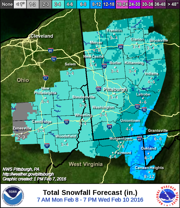NWS Pittsburgh is following a general east to west change in accumulation, and has Allegheny County completely in 2-4""