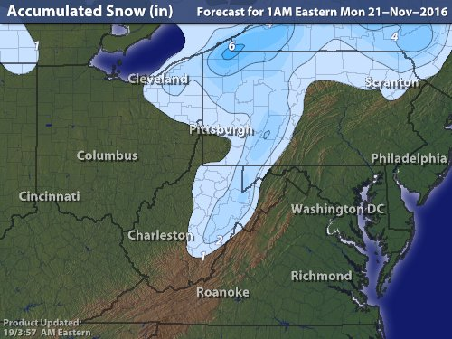 "Intellicast: 1"" forecast for Pittsburgh"