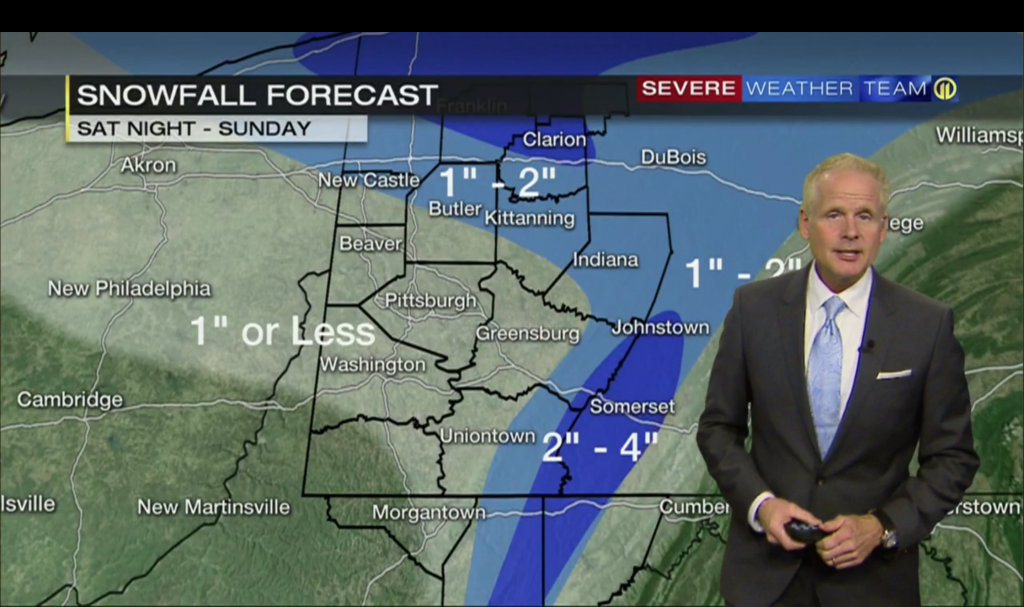 "WPXI: 1"" or less forecast for Pittsburgh"
