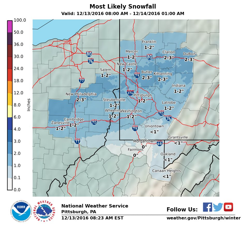 The National Weather Service Pittsburgh:  1-2  forecast for Pittsburgh