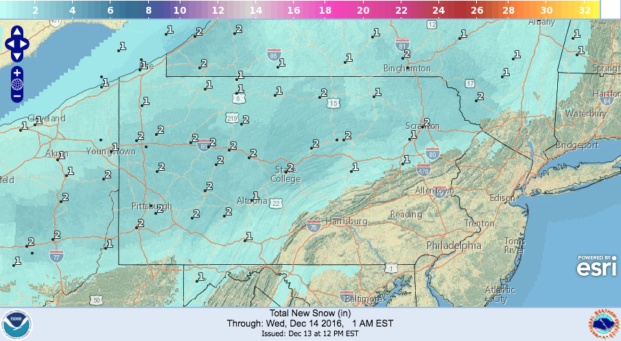 NWS Digital Model:  forecast for Pittsburgh