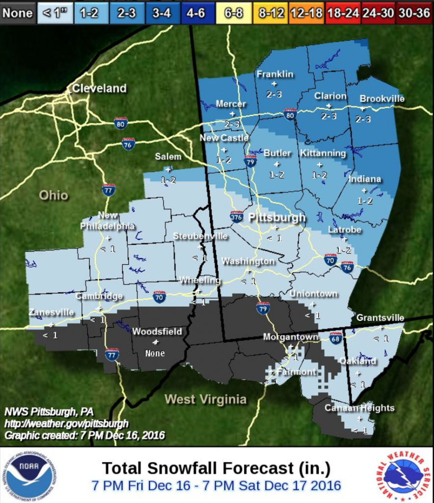 NWS Pittsburgh is anticipating less than inch in Pittsburgh.