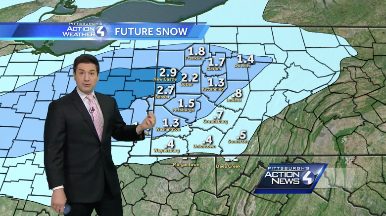 WTAE uses a FutureCast model for predicting snowfall, which gives an exact numeric prediction, down to the decimal point. While this model was the most accurate model we tracked in 2014-15, but had some issues last winter. It is off to a bad start this season, predicting an inch and a half for a storm that dumper nearly four inches. They do deserve some credit for correctly predicting where the highest snowfall amounts would fall, and for giving an exact amount instead of a range. Accuracy Score: C