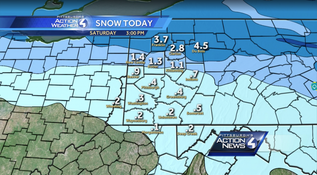 WTAE is the local station who published a snow map, which forecasts less than an inch in PIttsburgh.