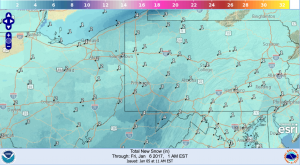 The NWS Digital Model called for 2″ in the city, which was correct, but the model was wrongabout higher totals east of the city. It did predict the higher totals just west of the PA state line, but placed it a little too far south. Like The Weather Channel, this map also missed the higher totals in the mountains.Accuracy Score: B